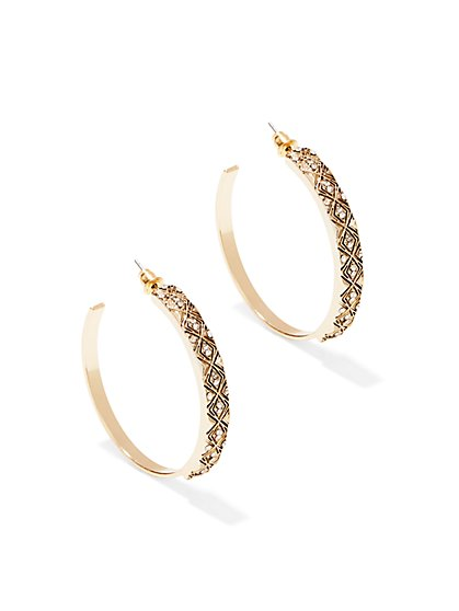 Diamond-Texture Hoop Earrings