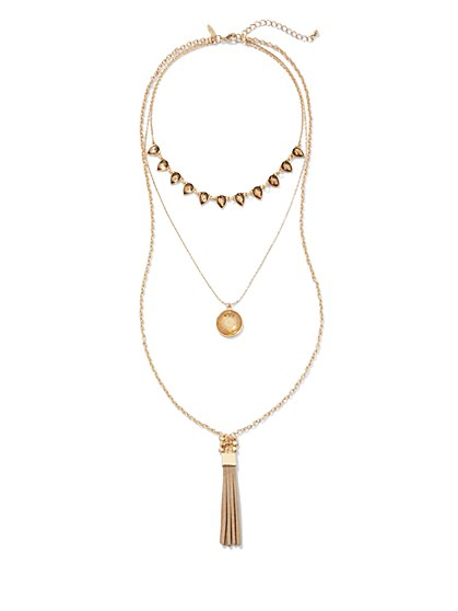 Disc & Tassel Necklace  - New York & Company