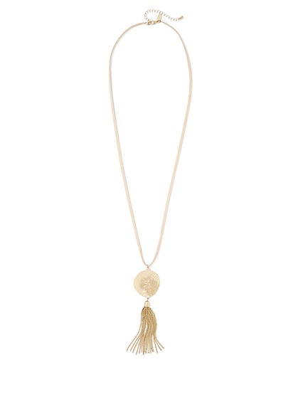 Disc & Tassel Pendant Necklace  - New York & Company