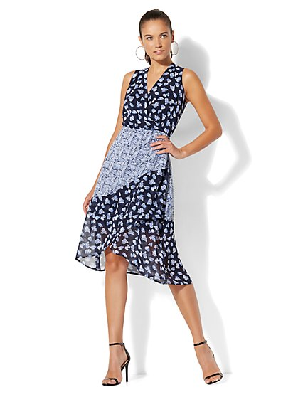 Ditsy-Floral Wrap Dress - New York & Company