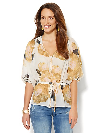 Dolman Drawstring Blouse - Floral  - New York & Company
