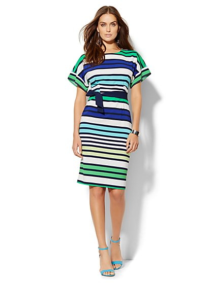 Dolman Midi Dress - Stripe - Petite  - New York & Company