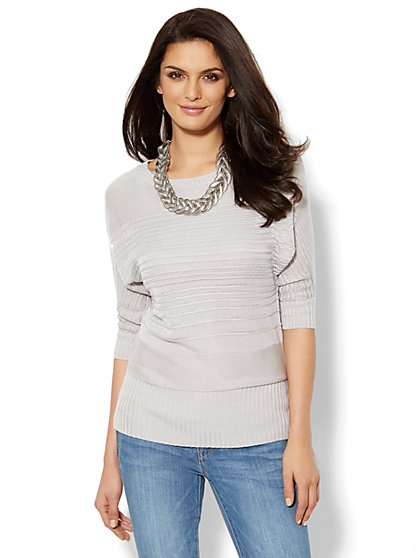 Dolman-Sleeve Bateau-Neck Pullover  - New York & Company