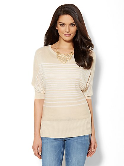 Dolman-Sleeve Bateau-Neck Striped Pullover  - New York & Company
