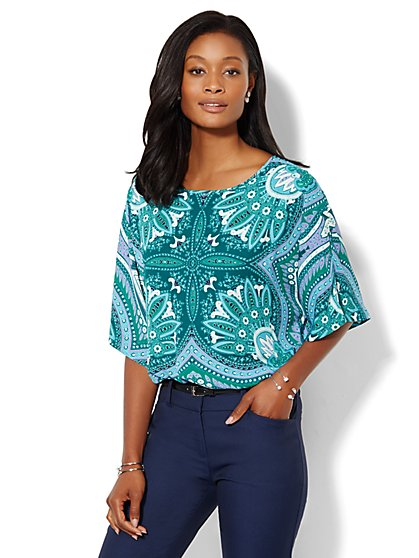 Dolman-Sleeve Blouse - Print - New York & Company