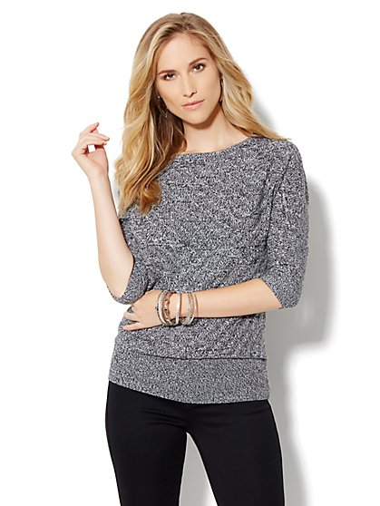 Dolman-Sleeve Marled Sweater - New York & Company