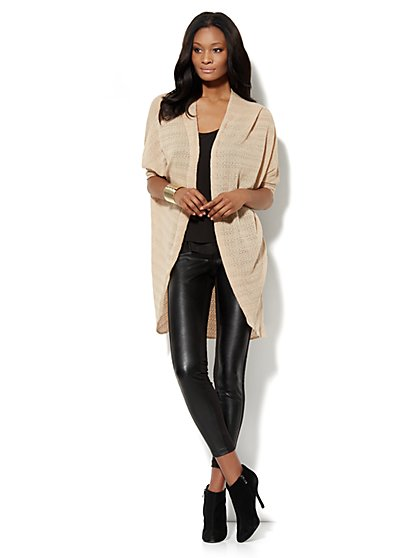 Dolman-Sleeve Pointelle Duster Cardigan - New York & Company