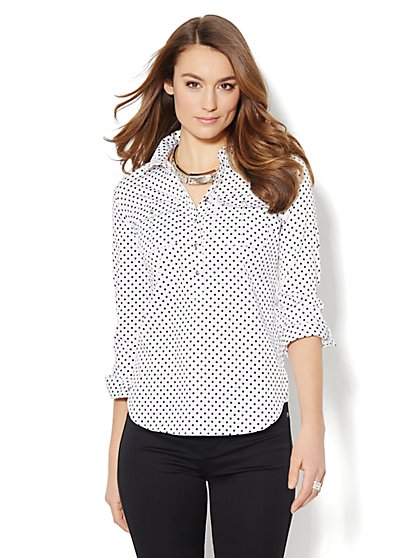Dot-Print Cotton Popover Stretch Shirt    - New York & Company