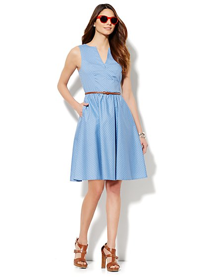 Dot-Print Dress - Gentle Blue Wash  - New York & Company