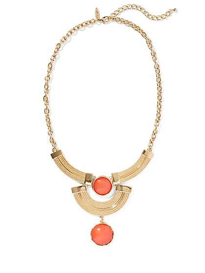 Double Bar & Cabochon Necklace  - New York & Company