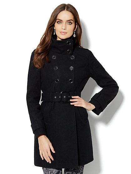 Double-Breasted Wool-Blend Coat  - New York & Company