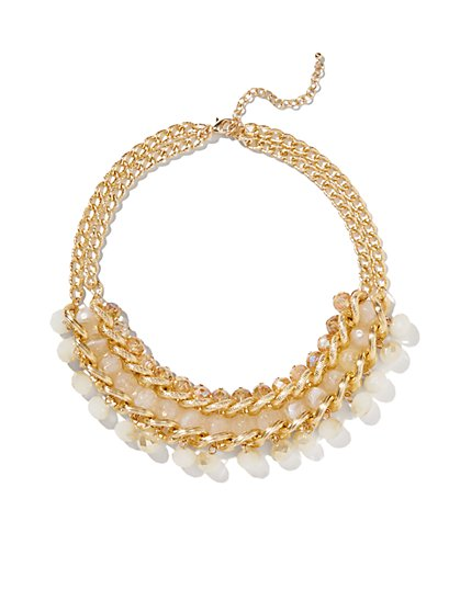 Double-Chain Link Beaded Collar Necklace  - New York & Company