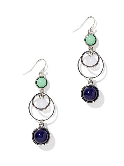 Double-Circle Beaded Drop Earring  - New York & Company