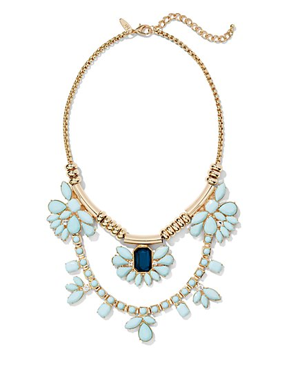 Double-Drop Floral Necklace  - New York & Company