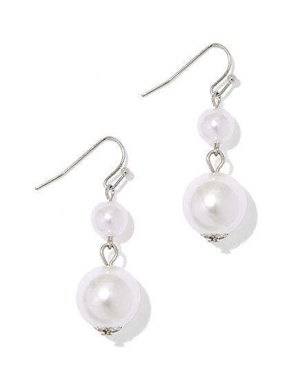 Double Faux-Pearl Drop Earring  - New York & Company