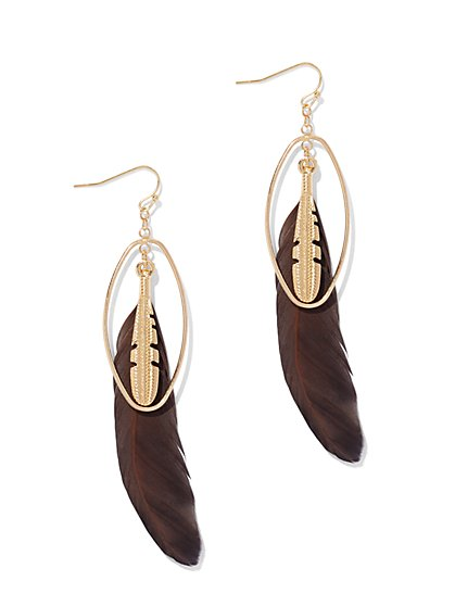 Double-Feather Drop Earring  - New York & Company