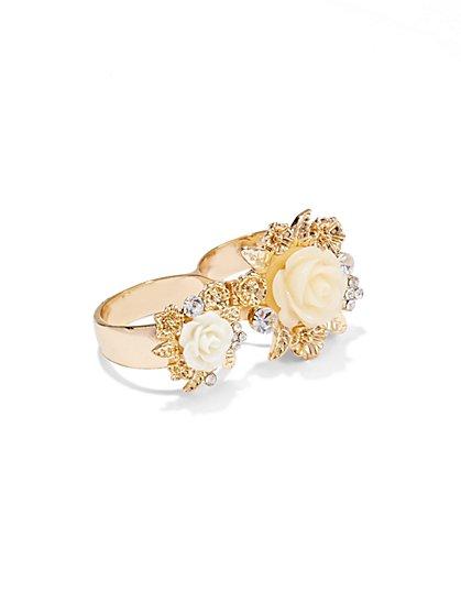 Double-Finger Rosette Ring  - New York & Company