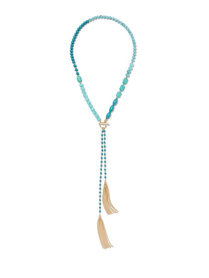 Double Fringe Pendant Lariat Necklace  - New York & Company