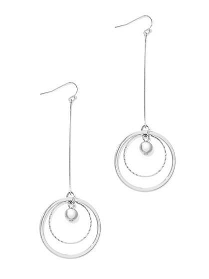 Double-Hoop Linear Drop Earring  - New York & Company