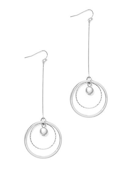 Double-Hoop Linear Drop Earring  - New York & Company