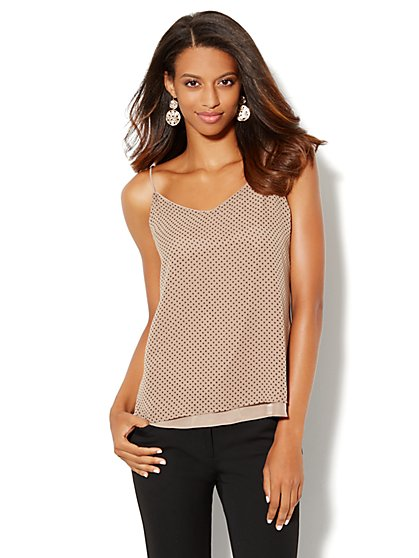 Double-Layer Chiffon Camisole - Polka Dot