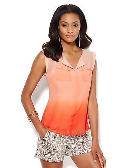 Double-Pocket Blouse - Ombré  - New York & Company