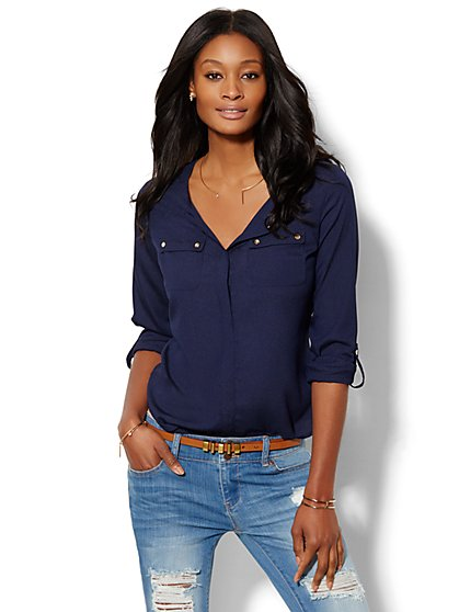 Double-Pocket Blouse  - New York & Company