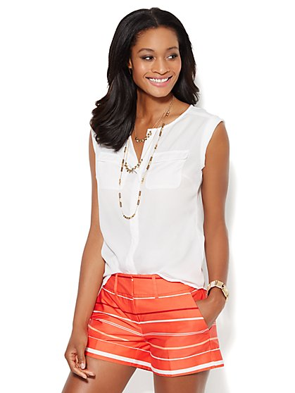 Double-Pocket Soft Blouse - Solid - New York & Company