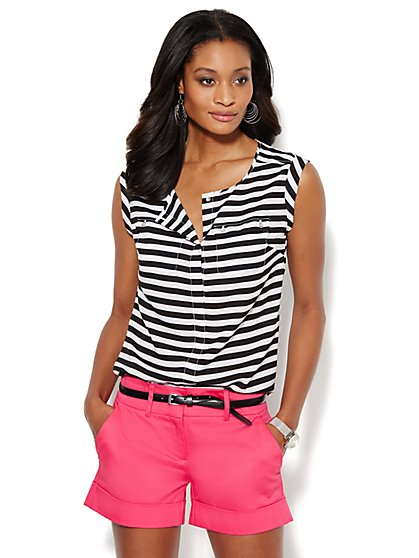 Double-Pocket Soft Blouse - Stripe - New York & Company