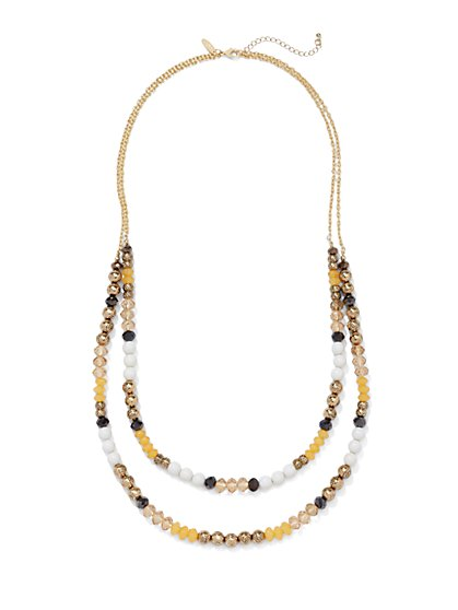Double-Row Beaded Cluster Necklace  - New York & Company