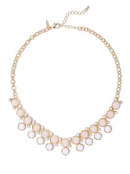 Double-Row Beaded Goldtone Necklace  - New York & Company