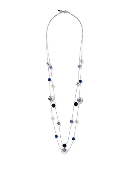 Double-Row Beaded Silvertone Necklace  - New York & Company