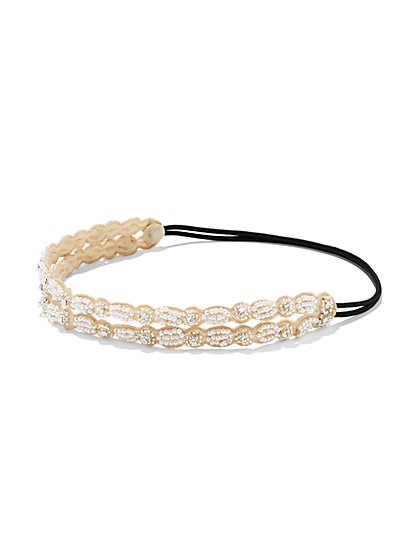 Double-Row Faux Pearl Headband  - New York & Company