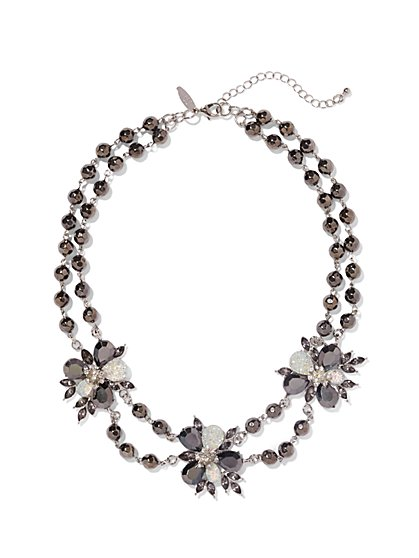 Double-Row Floral Beaded Necklace  - New York & Company