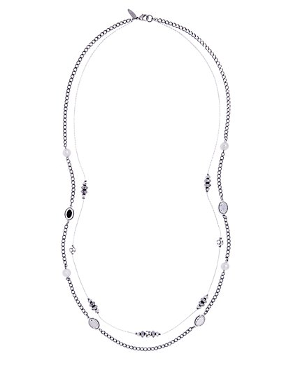Double-Row Layered Silvertone Necklace  - New York & Company