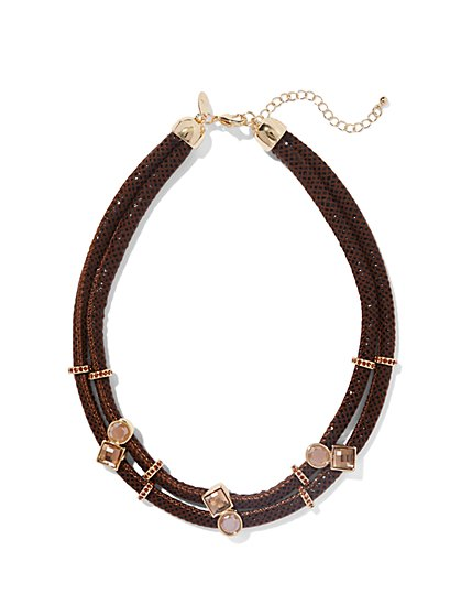 Double-Row Sparkling Cord Necklace - New York & Company