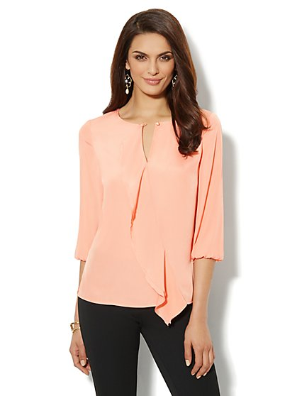 Double-Ruffle Silky Blouse  - New York & Company
