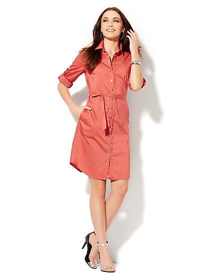 Double-Snap Closure Shirtdress  - New York & Company