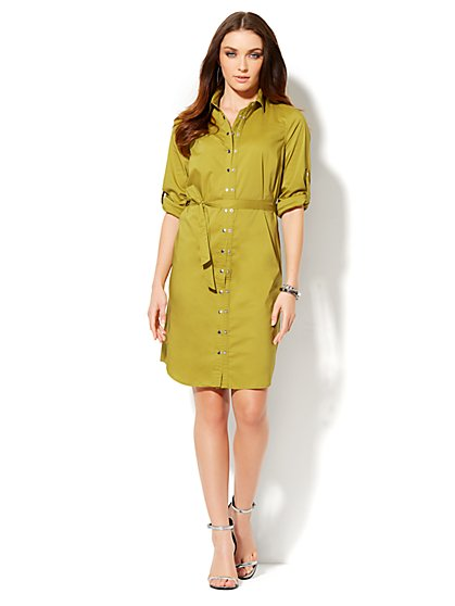 Double-Snap Closure Shirtdress  - New York & Company