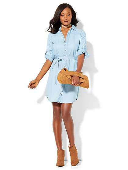 Double-Snap Ultra-Soft Chambray Shirtdress - Petite  - New York & Company