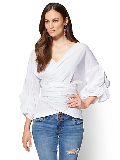 Dramatic Wrap Poplin Shirt - New York & Company