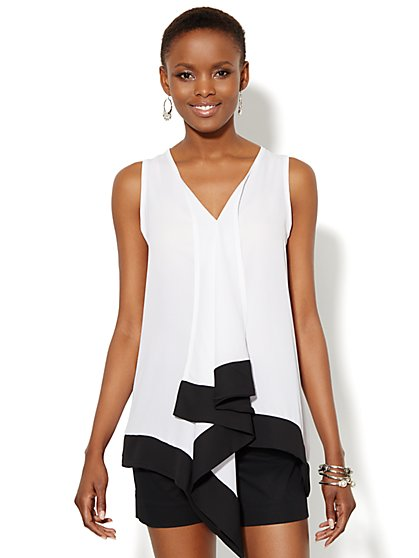 Drape-Front Colorblock Top - New York & Company