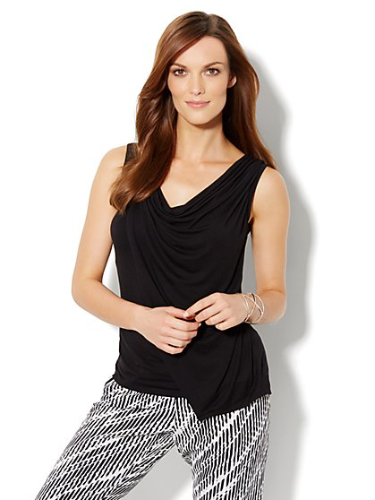Drape-Front Knit Top - New York & Company
