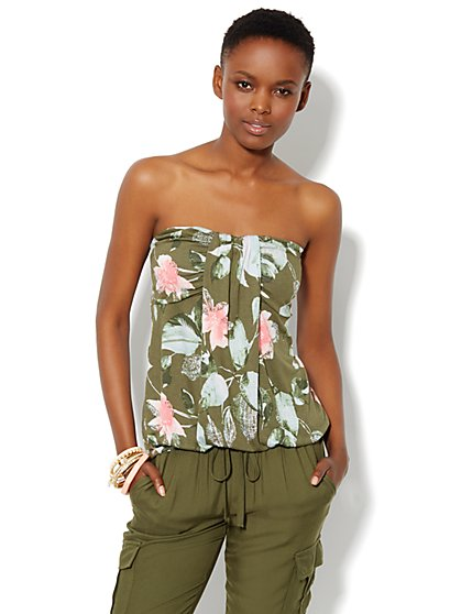 Drape-Front Knit Tube Top - Floral