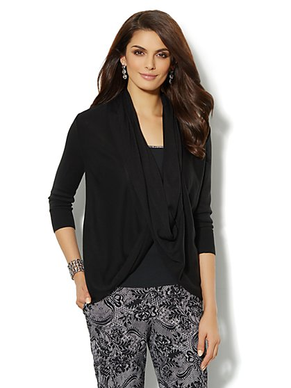 Drape-Front Twist Cardigan  - New York & Company