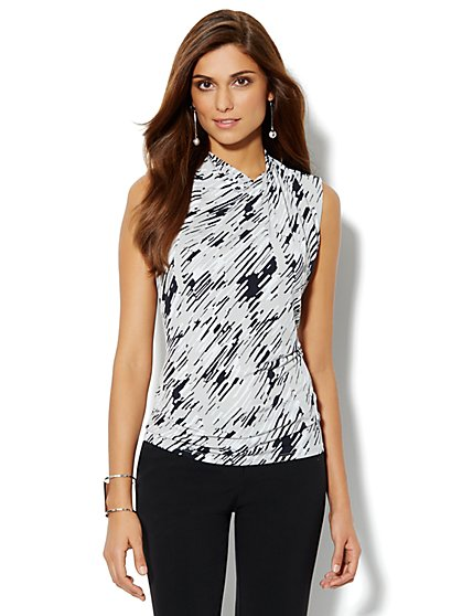 Drape Knit Blouse - Abstract Print - New York & Company