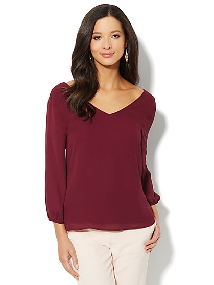 Draped-Back Silky Blouse - New York & Company