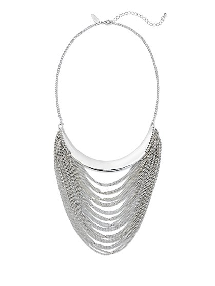 Draped Chain-Link Bar Necklace  - New York & Company
