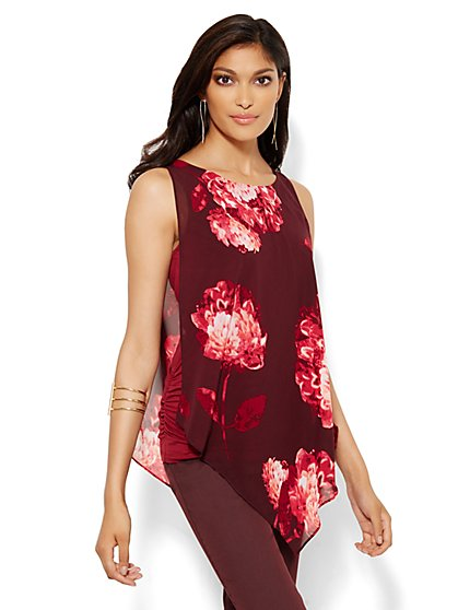 Draped Chiffon Overlay Top - Floral  - New York & Company