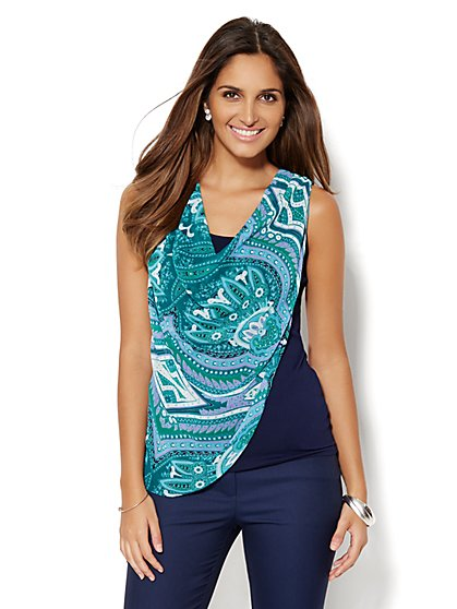 Draped Chiffon Shell - Paisley Print  - New York & Company